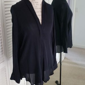 VINCE - Navy silk blouse M long sleeves